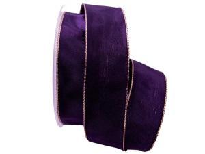 Uniband Goldkante lila 40mm mit Draht