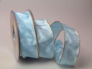 Uniband Goldkante Taipeh hellblau 40mm mit Draht