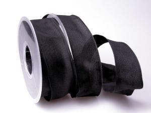 Uniband Schwarz mit Draht 40mm