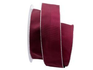 Uniband Silberkante lila / beere 40mm mit Draht