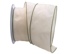 Uniband SONDERFARBE creme mit grünem Rand 65mm mit Draht - im Bänder Großhandel günstig kaufen!