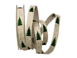 Weihnachtsband Tännchen creme / grün 15mm mit Draht