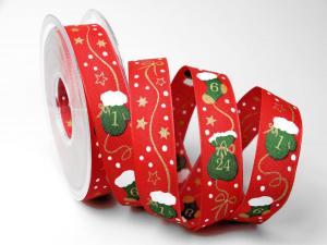 Weihnachtsband Adventskalender 25mm rot mit Draht