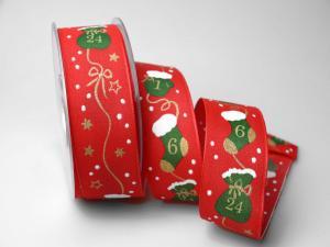 Weihnachtsband Adventskalender 40mm rot mit Draht - Geschenkband günstig online kaufen!
