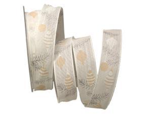 Weihnachtsband Baumschmuck weiß 25mm mit Draht - Geschenkband günstig online kaufen!
