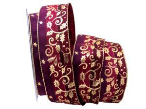 Weihnachtsband Blätterranke lila 40mm mit Draht