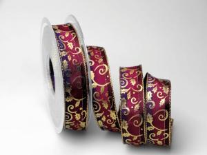Weihnachtsband Blätterranke lila 25mm mit Draht