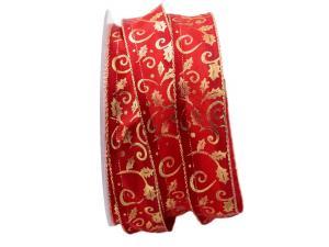 Weihnachtsband Blätterranke rot 25mm mit Draht