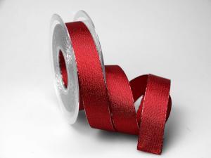 Weihnachtsband Brokatband rot 25mm ohne Draht