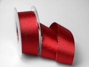 Weihnachtsband Brokatband rot 40mm ohne Draht - Geschenkband günstig online kaufen!