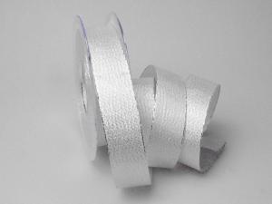 Weihnachtsband Brokatband silber 25mm ohne Draht