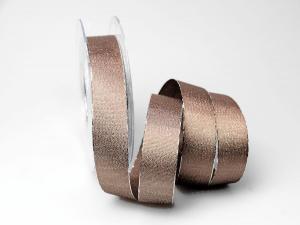Weihnachtsband Brokatband toffee 25mm ohne Draht