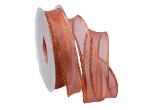 Weihnachtsband Bronze 25mm mit Draht