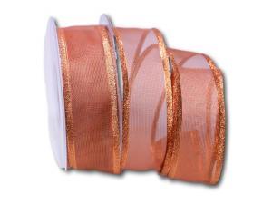 Weihnachtsband Bronze 40mm mit Draht