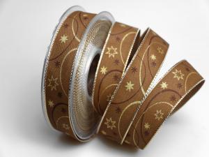 Weihnachtsband Circle braun 25mm mit Draht - Geschenkband günstig online kaufen!
