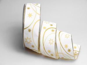 Weihnachtsband Circle creme 40mm mit Draht - Geschenkband günstig online kaufen!