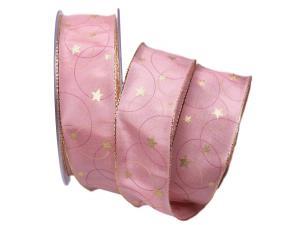 Weihnachtsband Circle rosa 40mm mit Draht