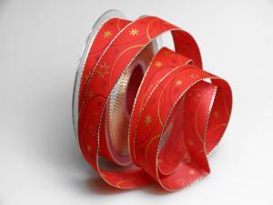 Weihnachtsband Circle rot 25mm mit Draht - Geschenkband günstig online kaufen!