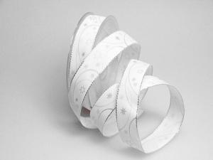 Weihnachtsband Circle weiß 25mm mit Draht - Geschenkband günstig online kaufen!