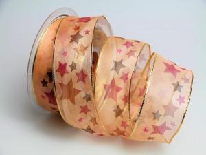 Weihnachtsband Crazy Stars 40mm apricot mit Draht - Schleifenband günstig online kaufen!