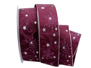 Weihnachtsband Diamant pink mit Draht 40 mm