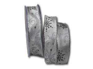 Weihnachtsband Diamant silbergrau 25mm mit Draht
