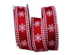 Weihnachtsband Eiskristall rot / weiß 40mm mit Draht