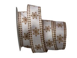 Weihnachtsband Eiskristall weiß / braun 40mm mit Draht - Geschenkband günstig online kaufen!