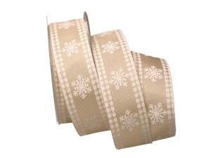 Weihnachtsband Eiskristall weiß / creme 40mm mit Draht - Geschenkband günstig online kaufen!