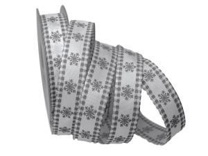 Weihnachtsband Eiskristall weiß / grau 25mm mit Draht - Geschenkband günstig online kaufen!
