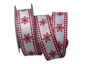 Weihnachtsband Eiskristall weiß / rot 40mm mit Draht - Geschenkband günstig online kaufen!