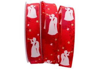 Weihnachtsband Engel rot 25mm mit Draht