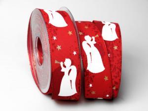 Weihnachtsband Engel rot 40mm mit Draht