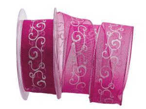 Weihnachtsband Florenz pink mit Draht 40mm