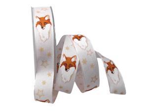 Weihnachtsband Fuchs weiß mit Draht 25mm