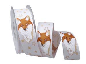 Weihnachtsband Fuchs weiß mit Draht 40mm