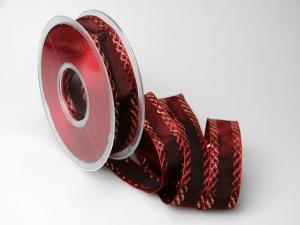 Weihnachtsband Gloria bordeaux 25mm ohne Draht