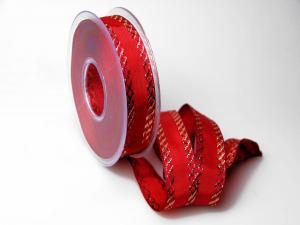 Weihnachtsband Gloria rot 25mm mit Draht