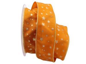 Weihnachtsband Gold-Sterne 40mm orange mit Draht