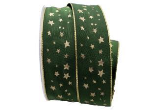 Weihnachtsband Gold-Sterne Grün mit Draht 40mm