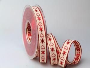 Weihnachtsband Herz & Stern 15mm ohne Draht rot im Bänder Online-Shop günstig kaufen