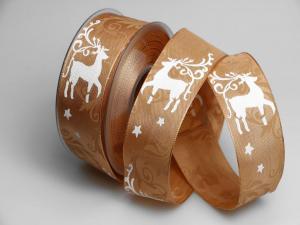 Weihnachtsband Hirsch 40mm aprikot mit Draht - Geschenkband günstig online kaufen!