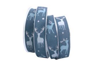 Weihnachtsband Hirsch Blau mit Draht 25mm - Geschenkband günstig online kaufen!