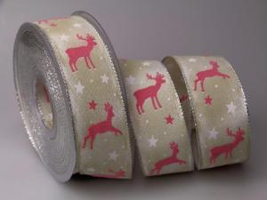 Weihnachtsband Hirsch rosa 40mm mit Draht