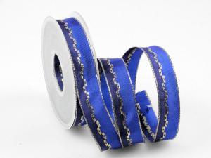 Weihnachtsband Jam blau 25mm mit Draht