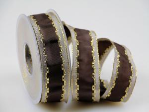 Weihnachtsband Jam braun mit Draht 40 mm - Geschenkband günstig online kaufen!
