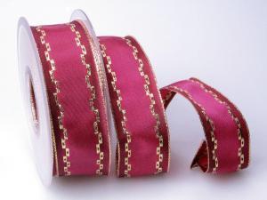 Weihnachtsband Jam pink 40mm mit Draht - Geschenkband günstig online kaufen!