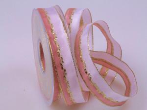 Weihnachtsband Jam rosa 25mm mit Draht