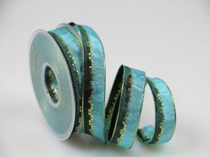 Weihnachtsband Jam türkis mit Draht 25 mm