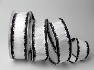 Weihnachtsband Jam weiß 40mm mit Draht - Geschenkband günstig online kaufen!